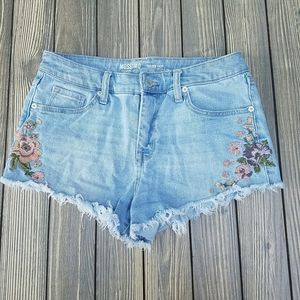 Mossimo High Rise Embroidered Jean Shorts